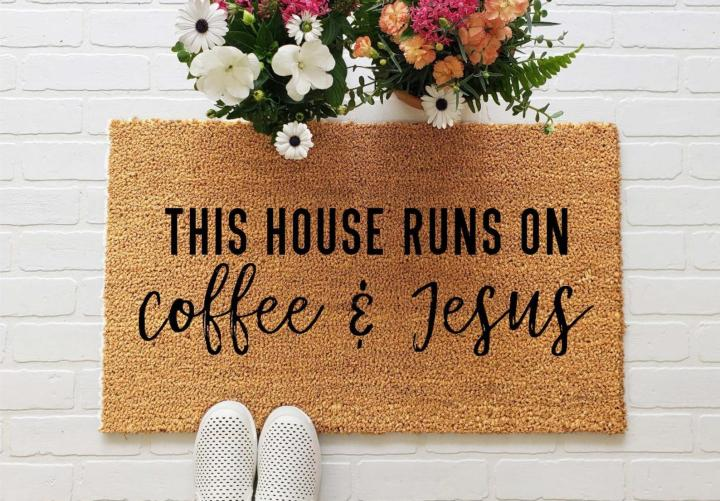 Doormats with Sayings, Carisa Thom, With Coffee & Grace